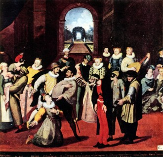 A scene from the Commedia dell' arte played in France before a noble audience